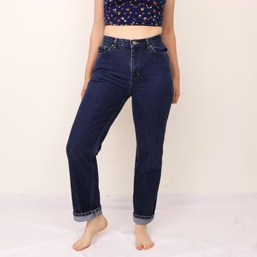 """90's Ralph Lauren High Waisted Jeans/Vintage Lauren Jeans Co. Denim/ High Waisted Straight Leg Jeans/ Classic Blue Jeans/ 11"""" inch rise by FemmeAndFauna"""
