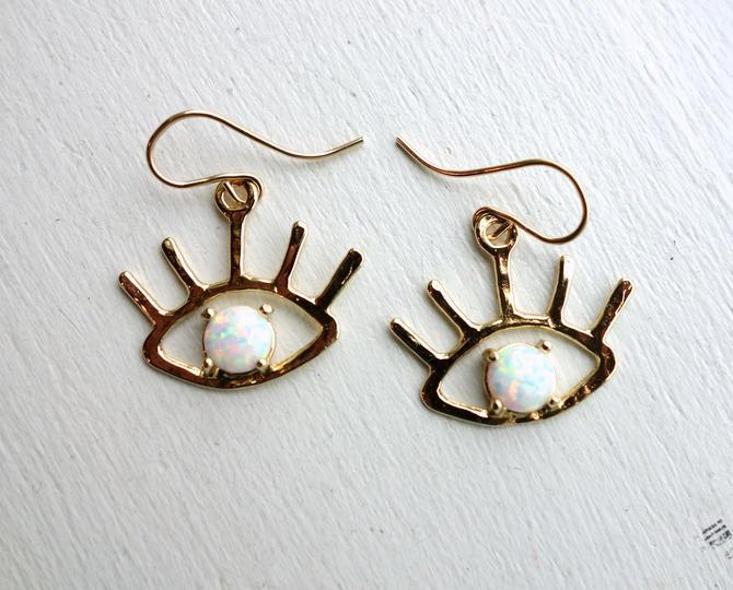 The Beholder Earrings: Gold and Opal Eye Earring Dangle Drops by RachelPfefferDesigns