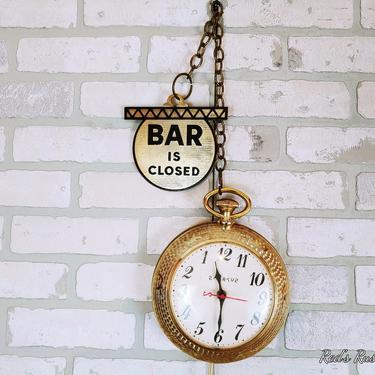 Vintage Spartus Reverse/Backward Bar is Open/Closed Clock Pocket Watch by RedsRustyRelics