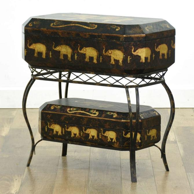 British Colonial Elephant Motif Storage Trunks W Stand