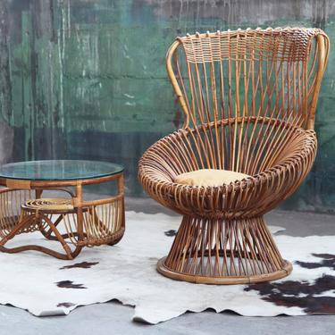 VERY RARE!! Franco Albini for Vittorio Bonacina Mid Century Margherita Chair + Matching Coffee Table Sculptural McM Danish Post Modern by CatchMyDriftVintage