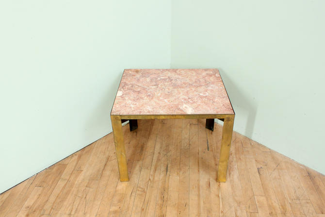 Mid Century Modern Pink Marble and Brass Accent Table Side Hollywood Regency by 330Modern