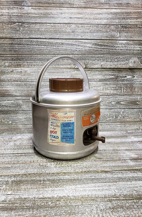 Vintage Poloron Featherflite Jug, Galvanized Metal Cooler, Vintage Thermos Jug, 1 Gallon Picnic Container, Vintage Camping, An RV Must! by AGoGoVintage