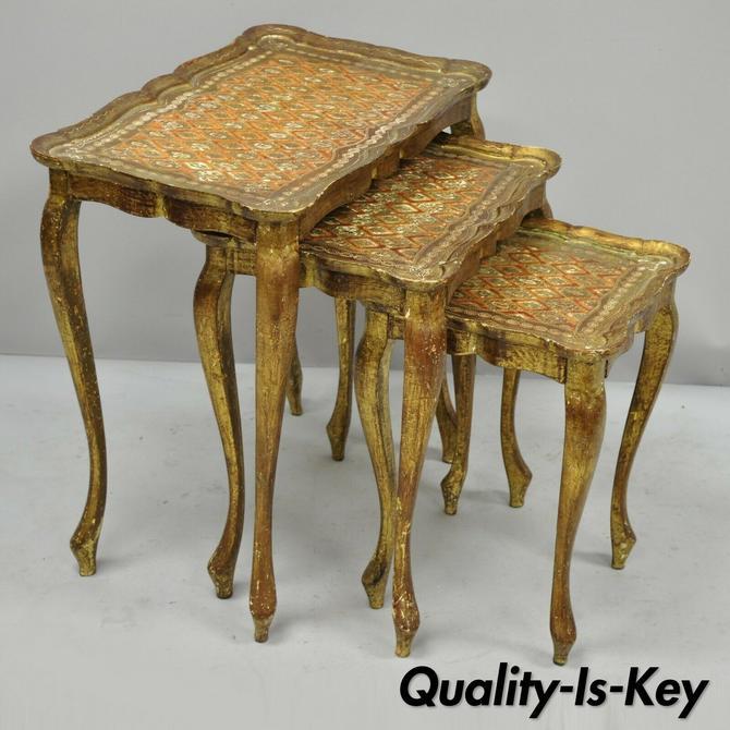 Three Italian Florentine Tole Hollywood Regency Orange Gold Nesting Side Tables