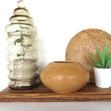 Vintage Hand Turned Wooden Bowl, Hand Carved Black Oak Wood Bowl/Vase, Sculptural Boho Air Plant Holder by HerVintageCrush