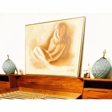 Retro 70s Oil on Canvas Nude signed Billi W. by VivaLaVintagedotTX