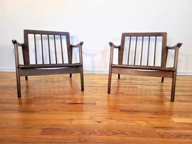 Mid Century Danish Modern Pair of Wood Lounge Chairs Made in Yugoslovia by ProRefineFurnishings