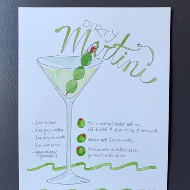 Dirty Martini Recipe Original Watercolor Painting