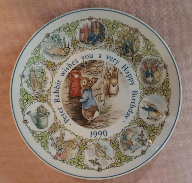 Vintage Beatrix Potter Nursery Ware 1990 Peter Rabbit Birthday Plate By Wedgwood by OverTheYearsFinds