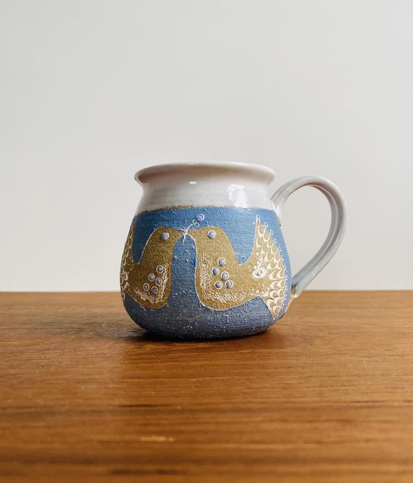 Vintage bird mug / handmade studio pottery blue and white mug signed VM by EarthshipVintage