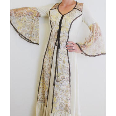 Vintage boho hippie lace maxi dress 1970's by MamaTequilasVintage