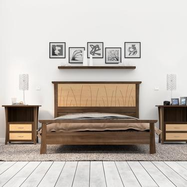 "Bed Frame King Size Walnut, Headboard, Queen, Full, Modern Scandinavian, Twin, California King, Maple, Inlay ""Prairie"" by NathanHunterDesign"