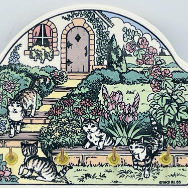Vintage Santa Barbara Ceramic Design Cat Garden - Key Holder - Ceramic Tile 1992 by JoAnntiques