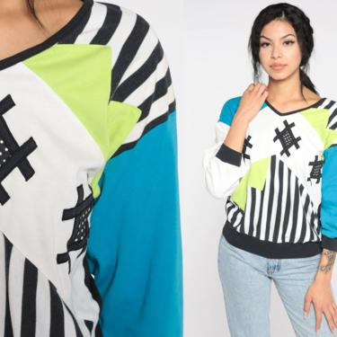 Color Block Sweatshirt 80s Sweater Crewneck Blue Green Striped Graphic Retro Slouchy Pullover Sweat Shirt Vintage Small by ShopExile