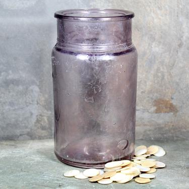 19th Century Glass Jar with Air Bubbles and Purple Color - Manganese Dioxide Purple Glass - Small Vase - Pencil Cup   FREE SHIPPING by Bixley