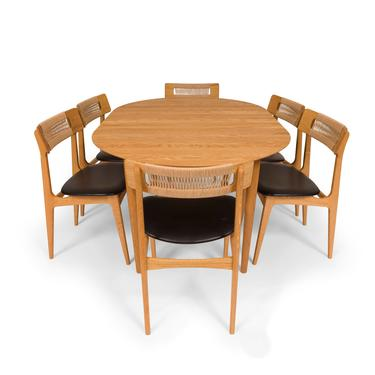 Bernhard Peterson & Søn Oak Dining Table No 119 and Six Dining Chairs No 140 by MCMSanFrancisco