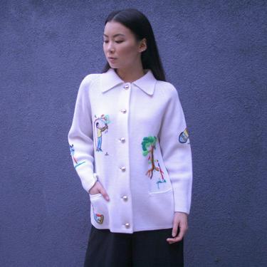 Amazing 1970's Golf Cardigan | White Cardigan | Unisex Embroidered shirt |  Minimal | Women's M | Men's Small by HamletsVintage