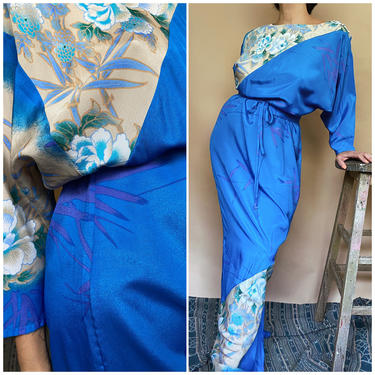 Vtg 60s Asian Floral Kimono Dress / Slouchy Hawaiian Blue Kaftan / Medium / Large by AmericanDrifter
