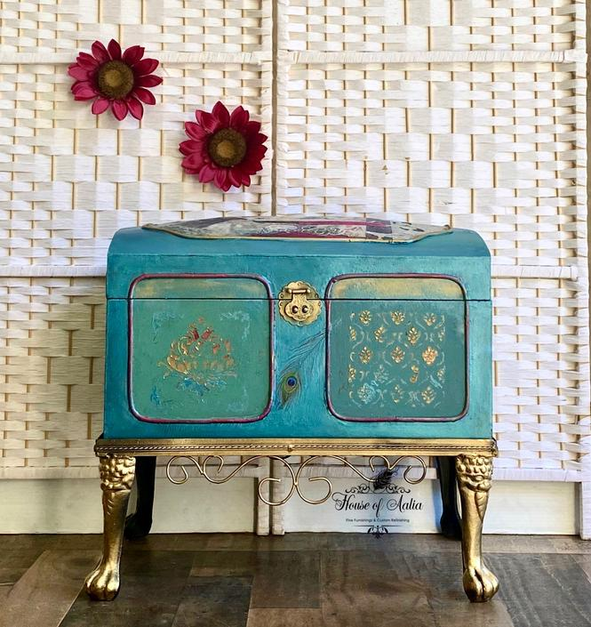 Teal Green Gold Aqua Antique Trunk.  Vintage Trunk. Vintage Toy Chest. Blanket Chest. Boho Trunk. Anthropologie Inspired Trunk. by HouseofAalia