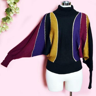 70's Dolman Sleeves DISCO Vintage Sweater 1970's Batwing Metallic Gold black Striped Turtleneck Pullover Knit Top Blouse Shirt Hippie Boho by Boutique369