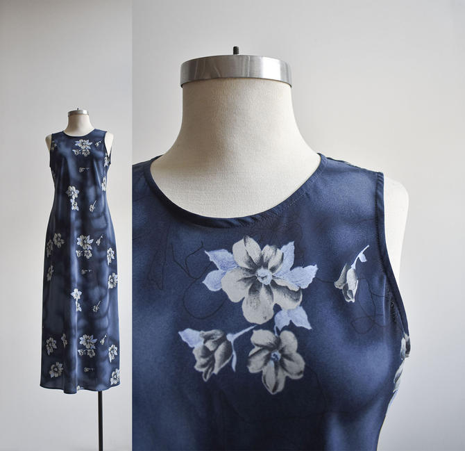 90s Navy Blue Floral Evening Dress by milkandice