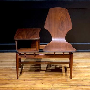Plycraft Walnut Mid Century Modern Gossip Bench - Normal Cherner Bent Wood Telephone Bench Chair by MidMod414