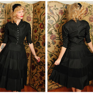 1950s Dress Set // Sparkling Star Taffeta Blouse & Skirt set // vintage 50s 2pc blouse + skirt by dethrosevintage