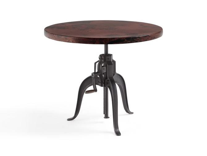 ARHAUS ADJUSTABLE ROUND COPPER FINISH TOP TABLE