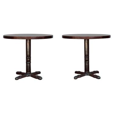 Pair of Polished Steel and Antiviral Raw Copper Top Gueridon / Side Tables