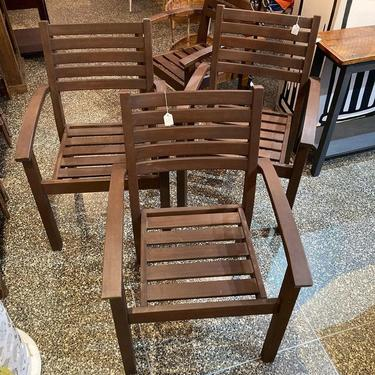 """Painted wood outdoor chairs. 4 available 24"""" x 21.5"""" x 35"""" Seat height 17.5"""""""