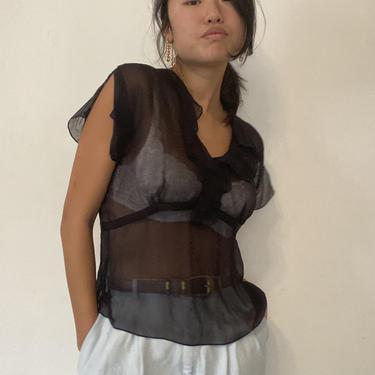 90s sheer silk ruffle blouse / vintage black sheer delicate silk ruffle collar short flutter sleeve empire blouse   S by RecapVintageStudio