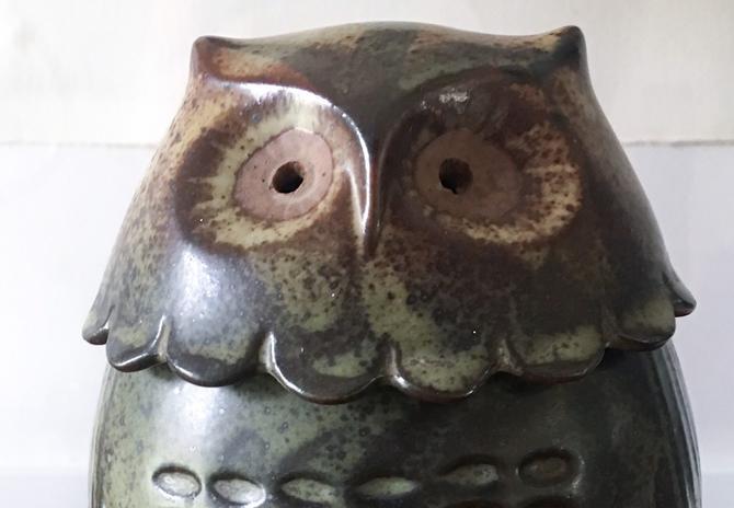 Rotund Owl Pottery Box Japan Vintage Glaze Handpainted Figurine Sculpture by CaribeCasualShop