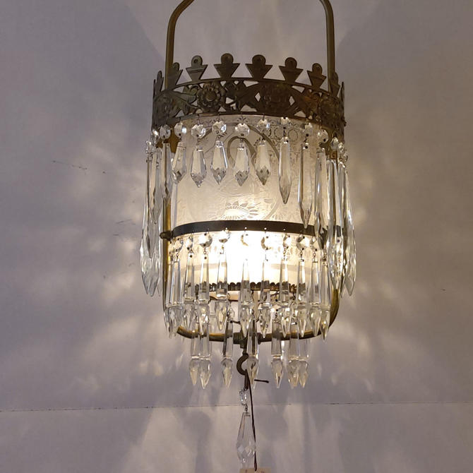 Victorian Swan Etched Glass Chandelier