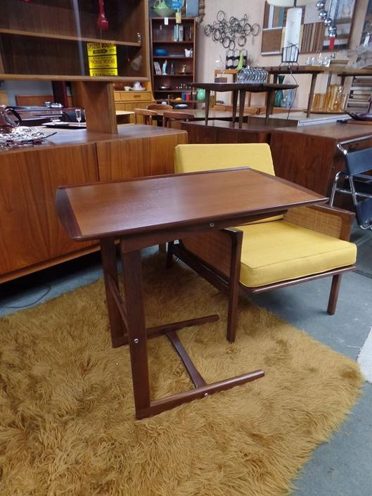 Danish Modern teak tray top side table that converts to a reading stand / TV tray