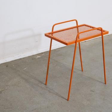 Vintage Mid-Century Modern Atomic Orange Metal Tall End Table by AnnexMarketplace