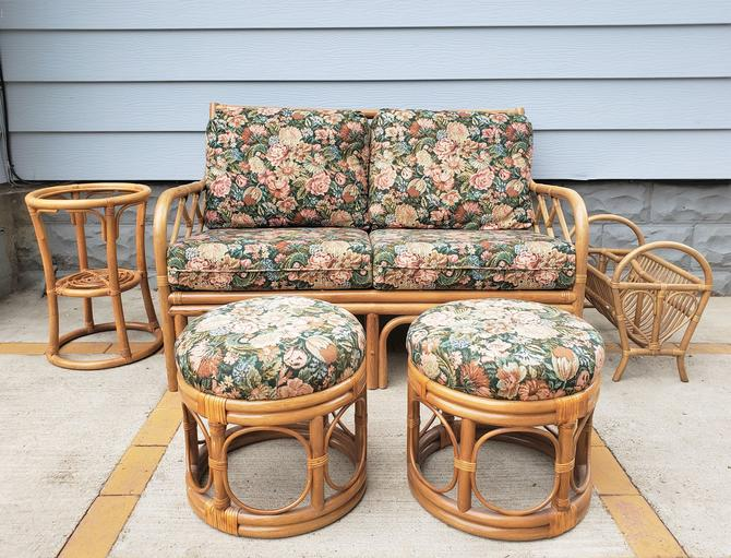 FREE SHIPPING! Vintage Rattan 10pc Patio Furniture Set | Boho Dining Set with Table, 4 Chairs, Loveseat, Ottoman, Plant Stand, Magazine Rack by SavageCactusCo