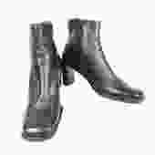 Vintage Nine West 90's Block Heel Black Leather Ankle Boots, Size 8, Square Toe, Inside Zipper, 3 inch Heel, 80s Fashion by DakodaCo
