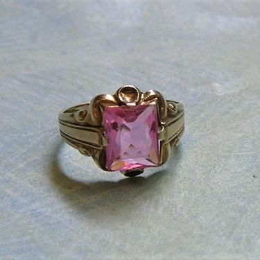 Vintage 10K Ostby & Barton Ring, Vintage Statement Ring, 10K Gold and Simulated Pink Glass Stone Ring, Size 3.75 (#3887) by keepsakejewels