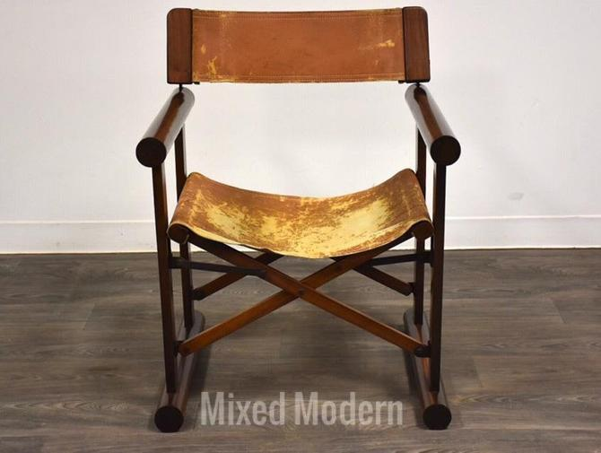 Rosewood & Leather Foldable Campaign Chair by mixedmodern1