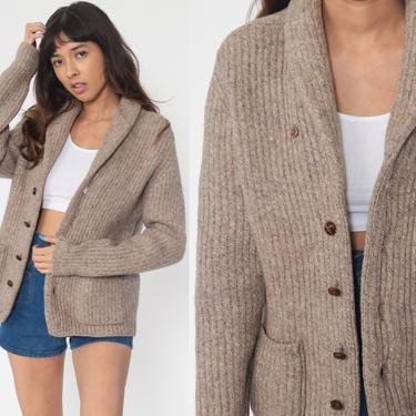 Taupe Wool Cardigan Grandpa Cardigan Sweater 70s Sweater Chunky Sweater Button Up Slouchy 1970s Vintage Lord and Taylor 80s Grunge Medium by ShopExile