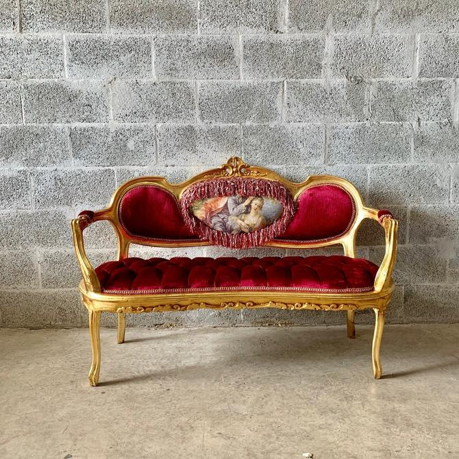 French Marquise French Vintage Furniture Tufted Sofa French Tufted Settee Refinish New Fabric Interior Design by SittinPrettyByMyleen
