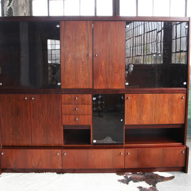 GORGEOUS, Substantial Mid Century Danish Modern Freestanding Rosewood Wall Unit w/ Drop down Desk, Lighted shelves, bookshelf, stereo MCM by CatchMyDriftVintage