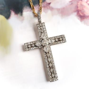 Huge Antique Old Cut Diamond Statement Cross Pendant by YourJewelryFinder