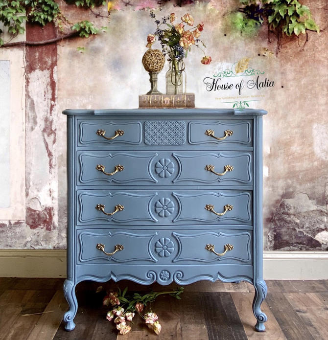 French Blue Carved Dresser. Four Drawer Lowboy. Marble top.  Master Bedroom. Eclectic Living Room Anthropologie Inspired. by HouseofAalia