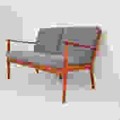 Danish Modern Ole Wanscher Model PJ-112 Teak Settee for Poul Jeppesen Made in Denmark by MidCentury55