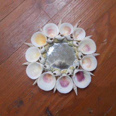 Vintage Seashell Decorative Mirror Round Seashore Souvenir Nautical Beach Coastal Tropical Island Home Decor Made in Phillipines Wall Art by kissmyattvintage