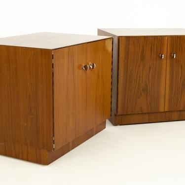 Directional Mid Century Walnut and Chrome Nightstands - A Pair - mcm by ModernHill