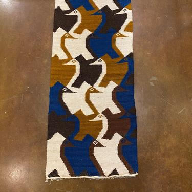Vintage New Old Stock, Hand Crafted South American Tapestry Textile, Multi Color Birds Motif, Mid Century Style by PrimaForme
