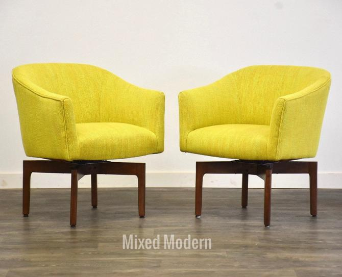 Jens Risom Yellow Swivel Lounge Chairs - A Pair by mixedmodern1