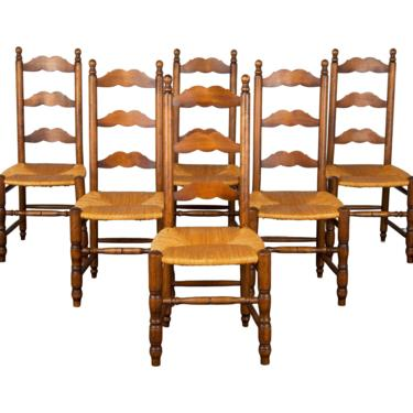 Antique Set of 6 Country French Provincial Farmhouse Ladder Back Oak Dining Chairs by StandOutSpaces